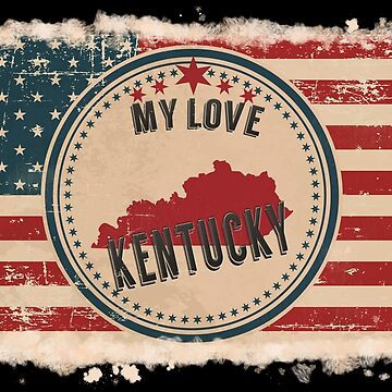Kentucky Vintage Retro US American Flag Design in Distress Look by Flaudermoon
