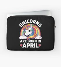 Einhörner sind im April geboren T-Shirt Unicorn Rainbow Birthday Laptoptasche