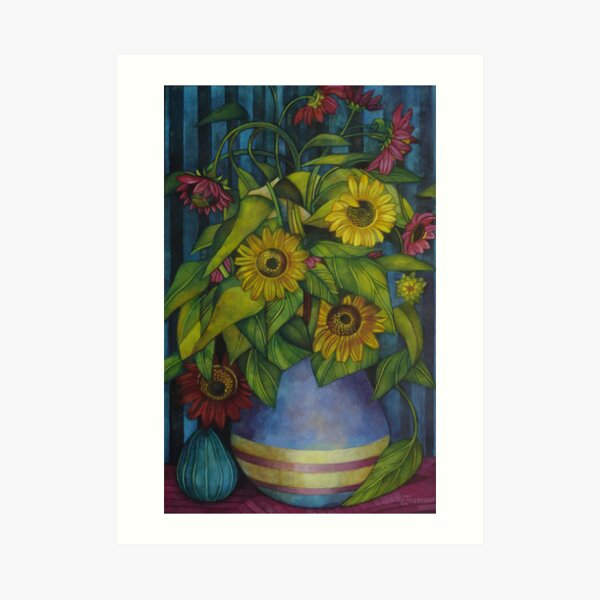 still-life with sunflowers Art Print