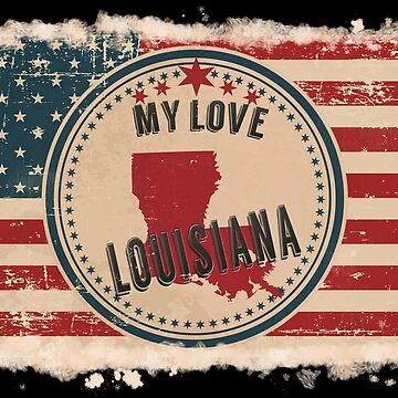 Louisiana Vintage Retro US American Flag Design in Distress Look by Flaudermoon
