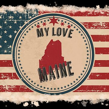 Maine Vintage Retro US American Flag Design in Distress Look by Flaudermoon