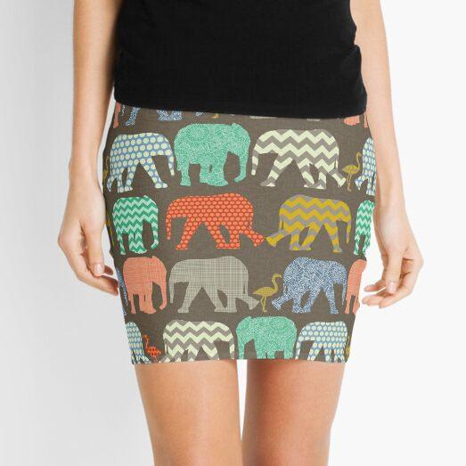 baby elephants and flamingos savannah Mini Skirt