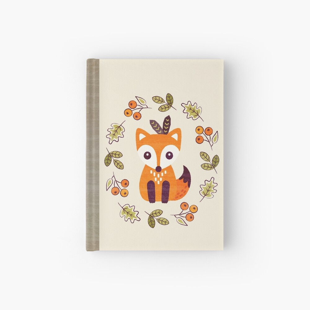 Little Fox with Autumn Berries Hardcover Journal