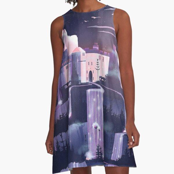 Wasserfall Schloss A-Linien Kleid