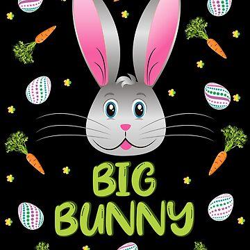 Big Bunny Easter Little Rabbit Egg Hunt Funny Bunny Face by ZNOVANNA