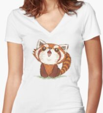 Red panda happy Women's Fitted V-Neck T-Shirt
