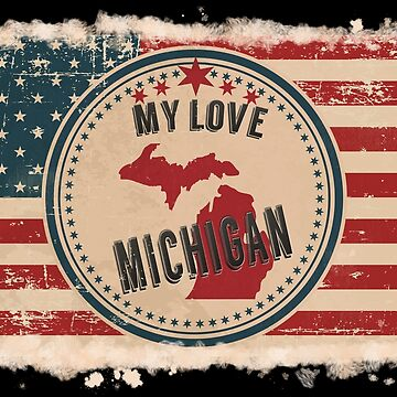 Michigan Vintage Retro US American Flag Design in Distress Look by Flaudermoon