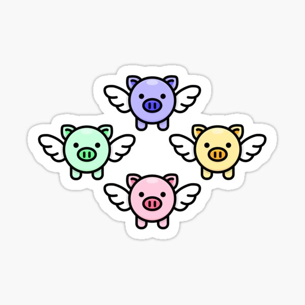 When Pigs Fly: Rainbow Sticker