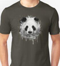Cool Abstract Graffiti Watercolor Panda Portrait in Black & White  T-Shirt