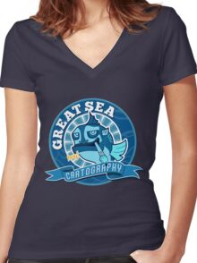 Great Sea Cartography Women's Fitted V-Neck T-Shirt