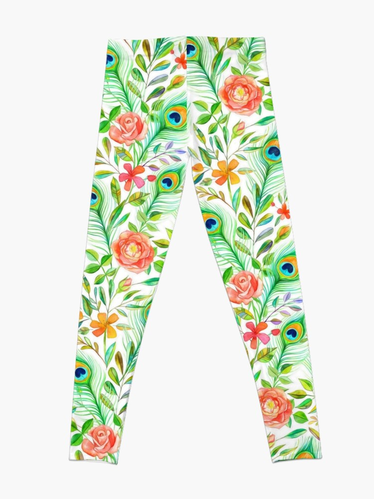 Alternate view of Peacock Feather Posies on white Leggings