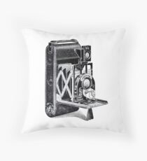 Vintage Camera Line Art Throw Pillow