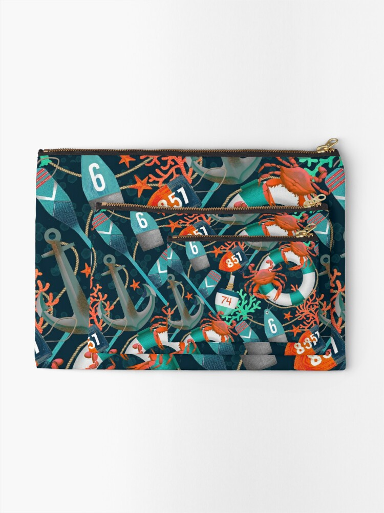 Alternate view of nautical junkyard Zipper Pouch
