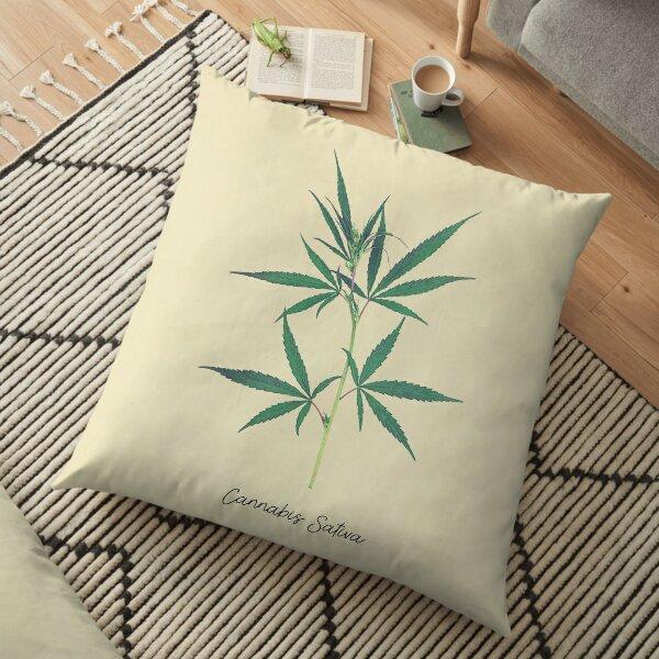 Cannabis Sativa Botanical Print Floor Pillow