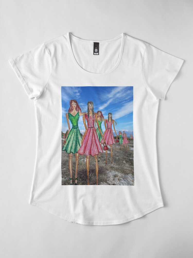Alternate view of BFF FASHIONISTA DRAWING WITH A PHOTOGRAPHY BACKGROUND Premium Scoop T-Shirt