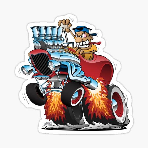 Highboy Hot Rod Race Car Cartoon Sticker