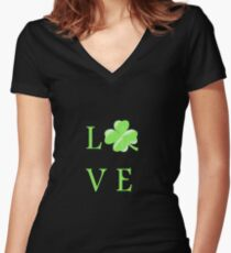 Love cloverleaf - Ireland - St. Patrick Women's Fitted V-Neck T-Shirt
