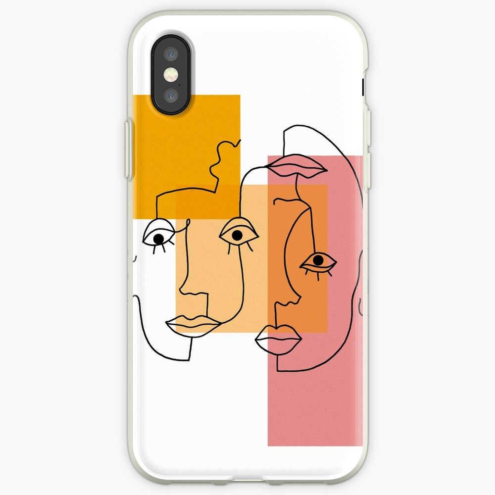 COLOR BLOCK LINE FACES iPhone Case & Cover