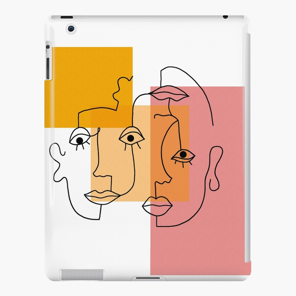 COLOR BLOCK LINE FACES iPad Case & Skin