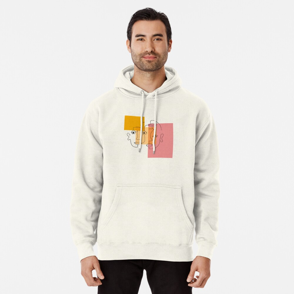 COLOR BLOCK LINE FACES Pullover Hoodie