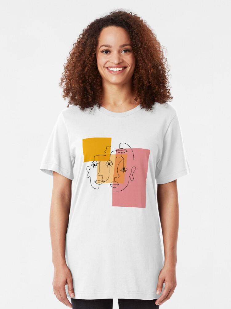 Alternate view of COLOR BLOCK LINE FACES Slim Fit T-Shirt