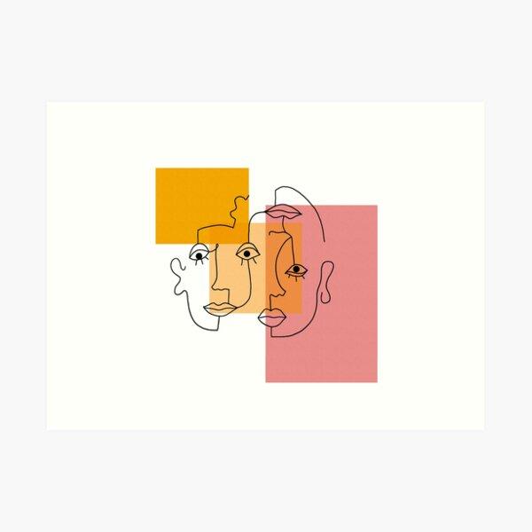 COLOR BLOCK LINE FACES Art Print