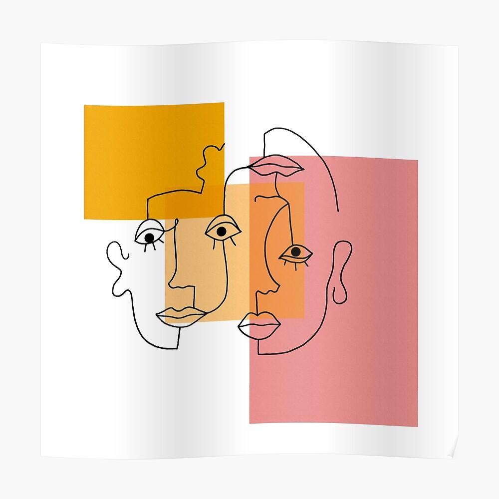 COLOR BLOCK LINE FACES Poster