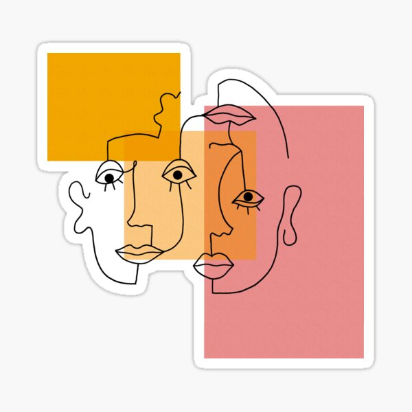 COLOR BLOCK LINE FACES Sticker