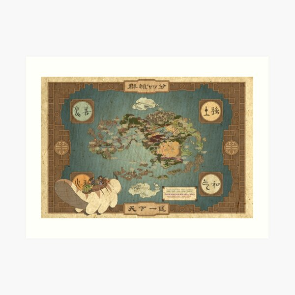 Avatar the Last Airbender Map Art Print