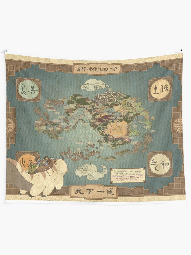 Alternate view of Avatar the Last Airbender Map Tapestry