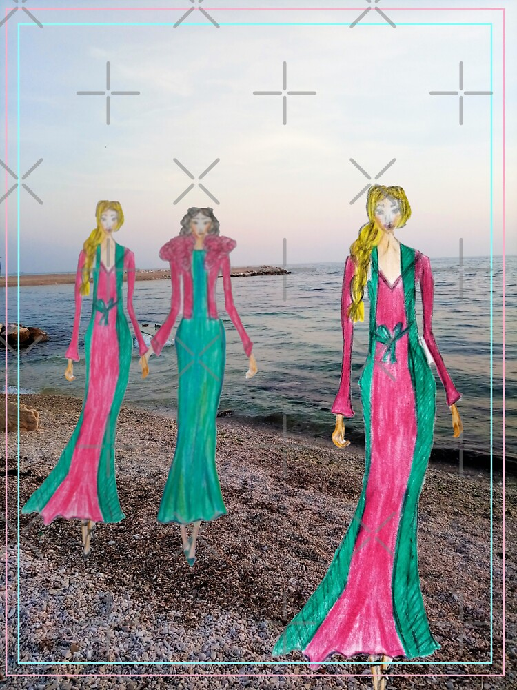 Fashion Drawing of Girls in Maxi Dresses by IvanaKada