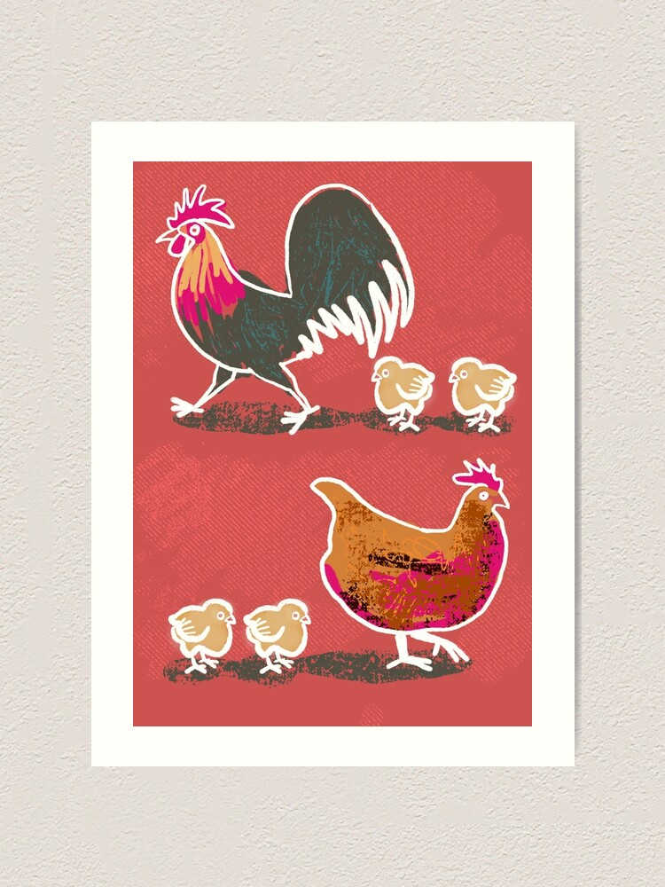 Alternate view of Chick-Chick Chickens ( with red background) Art Print