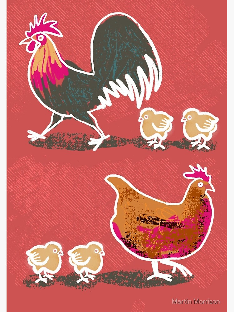 Chick-Chick Chickens ( with red background) by d4martin