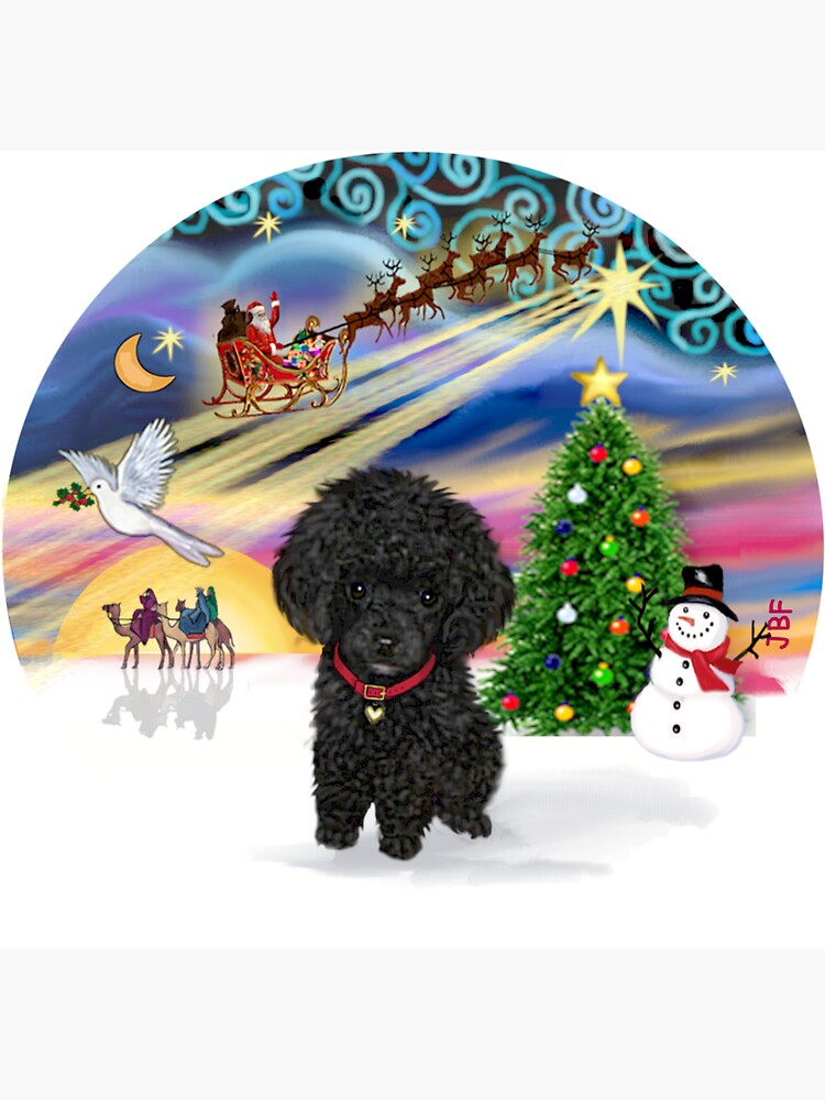 Christmas Magic with a Black Toy Poodle Pup by JeanBFitzgerald
