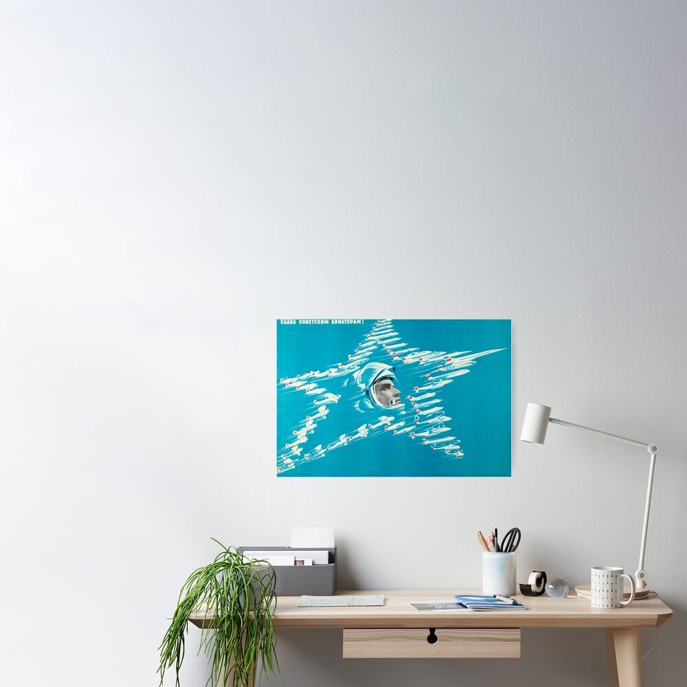 Glory to the Soviet Aviators! USSR, 1973, by B. Reshetnikov Poster