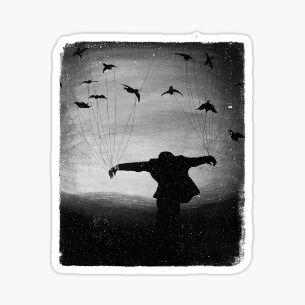 Man in Flight With Crows Sticker