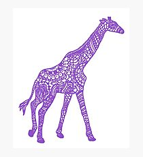Printed Giraffe - Purple Photographic Print