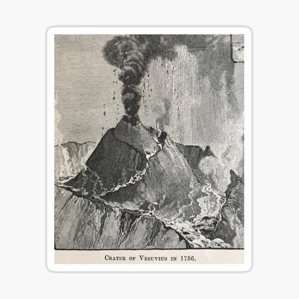 Mt. Vesuvius,vintage illustration, 1756 Sticker