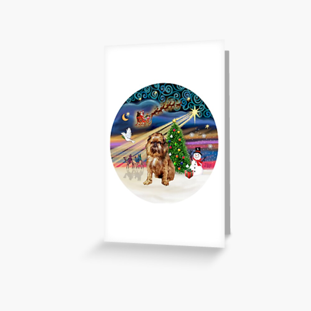 Christmas Magic with a Brussels Griffon (auburn) Greeting Card
