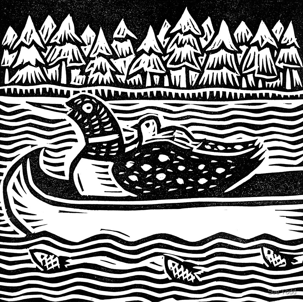 Loon in Canoe by Sue Todd