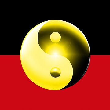 Australian Aboriginal Flag (Yin  Yang) by wickedcartoons