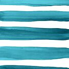Teal Watercolor Brushstrokes Pattern by blueskywhimsy