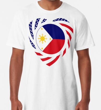 Filipino American Multinational Patriot Flag Series (Heart) Long T-Shirt