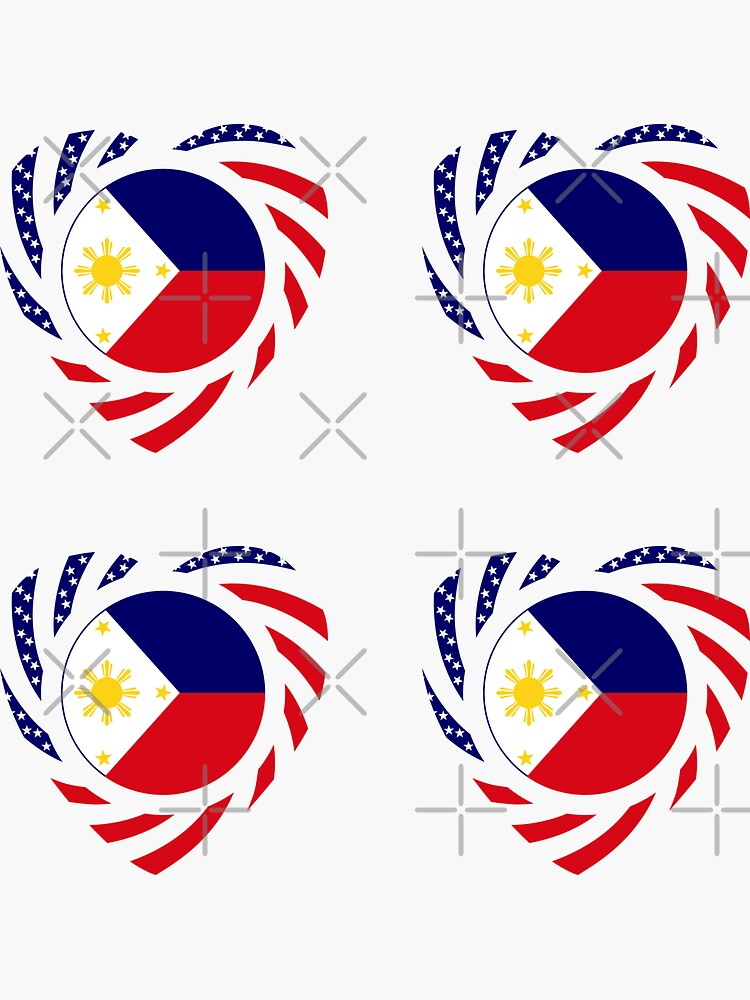 Filipino American Multinational Patriot Flag Series (Heart) by carbonfibreme