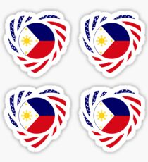 Filipino American Multinational Patriot Flag Series (Heart) Sticker