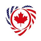 Canadian American Multinational Patriot Flag Series (Heart) by Carbon-Fibre Media