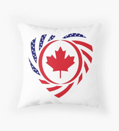 Canadian American Multinational Patriot Flag Series (Heart) Throw Pillow