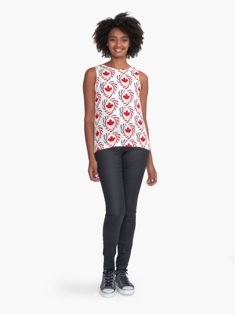 Alternate view of Canadian American Multinational Patriot Flag Series (Heart) Sleeveless Top