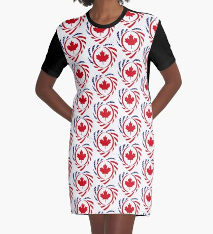 Canadian American Multinational Patriot Flag Series (Heart) Graphic T-Shirt Dress