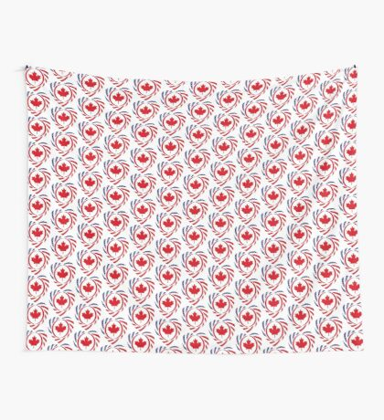 Canadian American Multinational Patriot Flag Series (Heart) Wall Tapestry